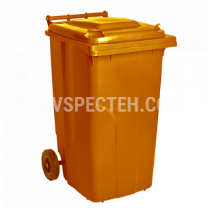 Бак для мусора на колесах 240л., оранжевий